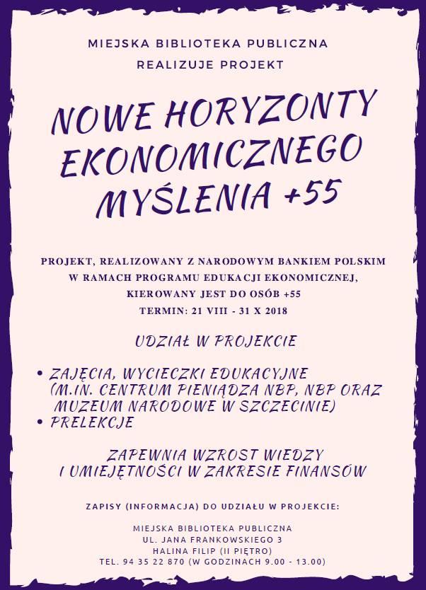 Plakat Nowe Horyzonty Ekonomicznego Myślenia 55+